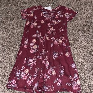 Red Flower printed dress